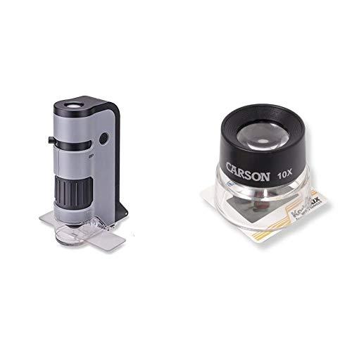 Carson Optical MicroFlip 100-250x Microscopio de Bolsillo con luz LED y Adaptador de digiscoping para Smartphone + LL-10 Lupa de Contacto LumiLoupe de 10x, Negro, Transparente