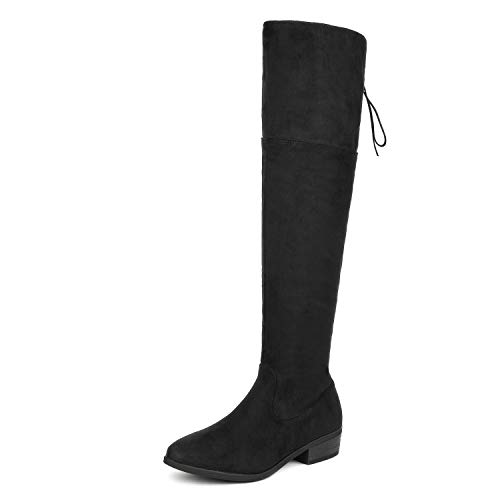 DREAM PAIRS Women's Lei Black Over The Knee High Low Block Heel Riding Boots Size 9 B(M) US