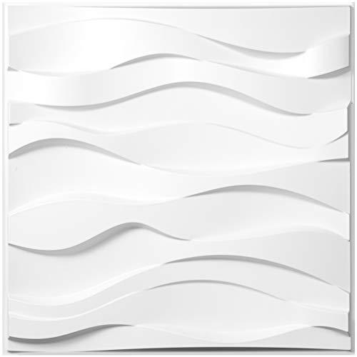 VEVOR 13STK 3D Wandpaneele 50x50cm Dekorative Fliesen Packung Selbstklebend Wandtattoo PVC, für Büro, Flur, Küche, Wohn- und Esszimmer(Wellen)