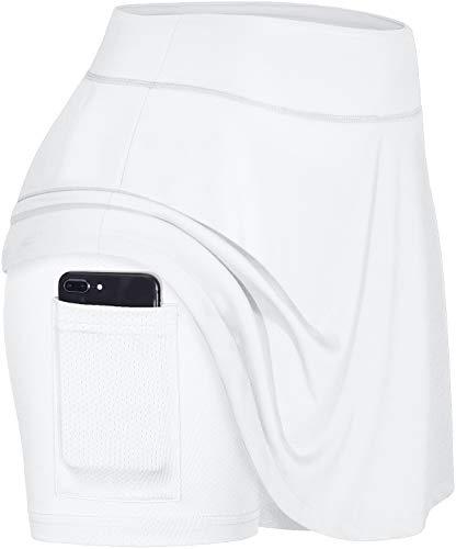 Blevonh saia feminina de tênis plissada ativa com bolso para corrida de golfe, Branco, XX-Large
