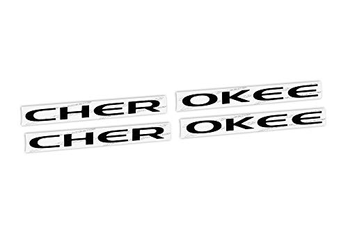 Reflective Concepts CHEROKEE Door Emblem Overlay Decal Stickers - Fits: 2014-2021 Jeep Cherokee - (Color: Gloss Black)