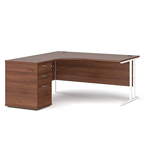 Maestro - Juego de 25 escritorios ergonómicos para mano izquierda y 3 cajones con patas voladizas, color nogal, 160 x 120 cm