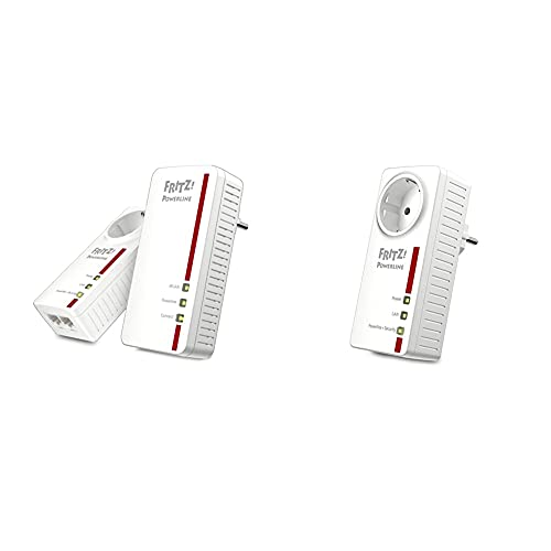 AVM FRITZ!Powerline 1260E/1220E WLAN Set (WLAN-Access Point, ideal für Media-Streaming oder NAS-Anbindungen, 1200 MBit/s) weiß & AVM FRITZ!Powerline 1220E Adapter (1.200 MBit/s, 2 x Gigabit-LAN)