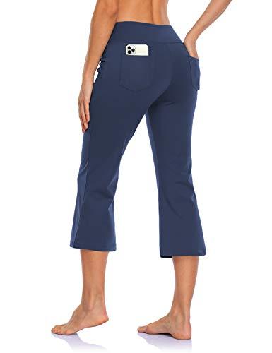MOVE BEYOND Pantalones Piratas de Yoga Bootcut para Mujer con 4 Bolsillos Pantalón Corte de Bota de Cintura Alta para Vestir Pilates Fitness Entrenamiento, Capris, Azul, XL