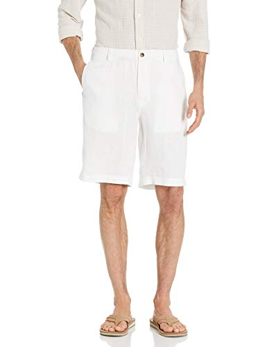 28 Palms Men's Relaxed-Fit 11' Inseam Linen Short with Drawstring, Bright White, Large