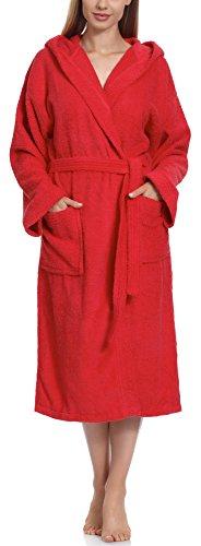 Ladeheid Peignoir de Bain Éponge 100% Coton Femme LA40-102 (Rouge (D10) (Grammage 450), S)
