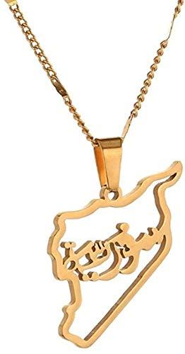 BACKZY MXJP Collar Collares Pendientes De Mapa De Siria De Acero Inoxidable Joyería De Cadena De Mapa De Sirios De Moda