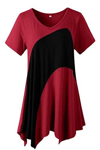 LARACE Tunic Tops for Women Color Block V-neck Flattering Asymmetrical Hemline Long Shirt(Wine Red 3X)