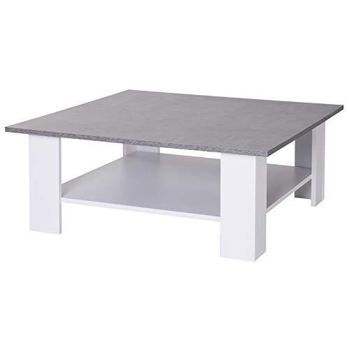 HOMCOM 2 Tier Vintage Style Coffee Table Square Side Desk Storage Shelf Indoor Home Living Room Furniture