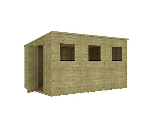 Project Timber 12 x 8 Pressure Treated Hobbyist Extra Tall Pent Windowed Garden Shed Doors in Gable with OSB Floor 3.65m x 2.43m