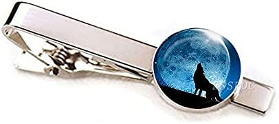 chenfeng Tie Clips Men Classic Metal Tie Clips Wolf Print Glass Dome Wedding Tie Pins Suit Accessories (Metal Color : Size 4)