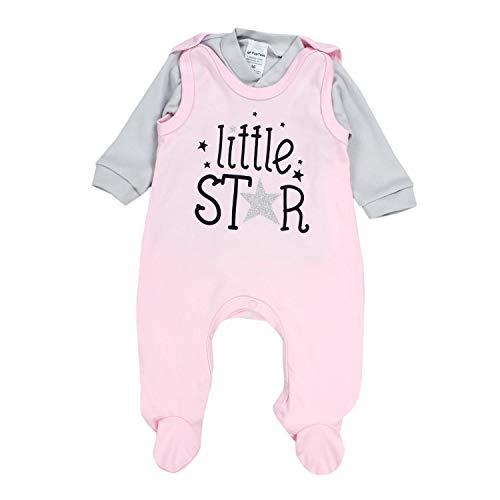 TupTam Baby Unisex Strampler-Set mit Aufdruck Spruch 2-TLG, Farbe: Little Star/Rosa/Grau, Größe: 74