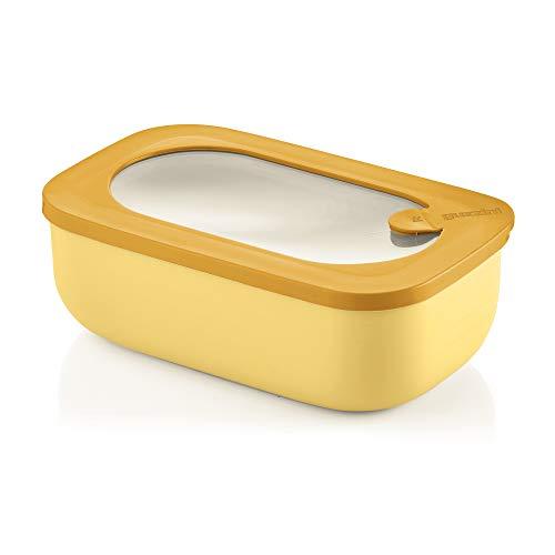 Guzzini Kitchen Active Design - Recipiente hermético Rectangular para frigorífico, congelador, microondas, hostelería y el Cuenco, 20 x 12 x 7 cm, 900 CC, Amarillo