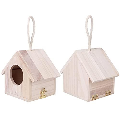 Mothinessto Alimentador de pájaros de Madera Colgante Refugio Seguro de la casa del pájaro de la Textura de Madera Suave para el jardín
