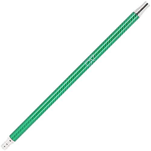 AO Shisha Carbon Mundstück Edelstahl V2A | Carbonmundstück für alle Silikonschläuche | 40cm - einfarbig (Grün)