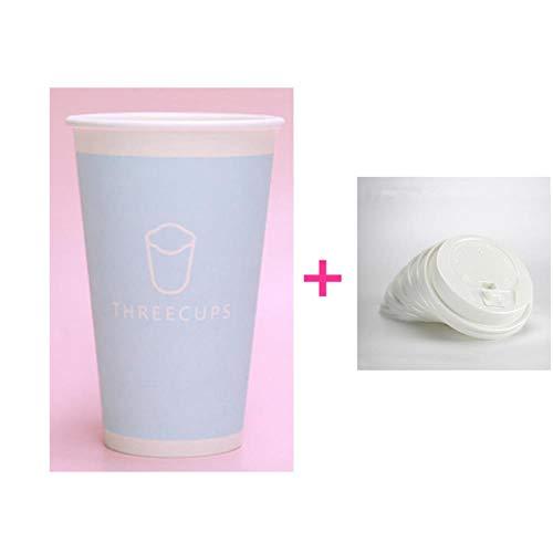 POMU 50 stks 300ml/400ml/500ml Wegwerp koffie kopje schattig roze/blauw dik papier beker partij melk thee drank pakket bekers met deksel