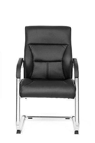Sedia visitatoria/Sedia cantilever VISITER CL110, sedia per ufficio con braccioli, sedia cantilever per ufficio, elegante, imbottitura spessa, similpelle nero MyBuero 725002