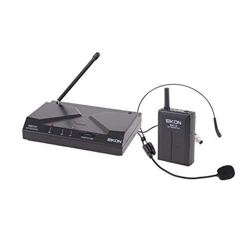 Proel EIKON WM101HV2 – Radio micrófono de diadema inalámbrica de frecuencia fija con diadema para canto deportivo, fitness, karaoke y presentaciones, negro (EIKON WM101HV2)