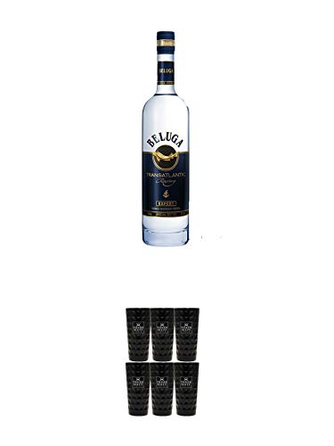 Beluga Transatlantic Vodka 0,7 Liter + Three Sixty black Vodka Glas 6 Stück (black)