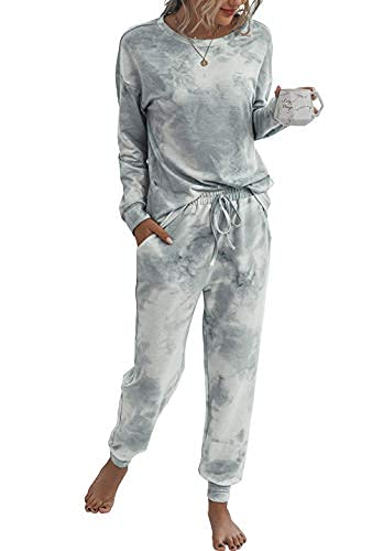 Doaraha Damen Jogginganzüge Trainingsanzug Pyjama Set Hausanzüge Schlafanzug Frauen Zweiteiliger Sportanzüge Freizeitanzug Sweatshirt + Hose für Sport und Freizeit, (X) Grau, L