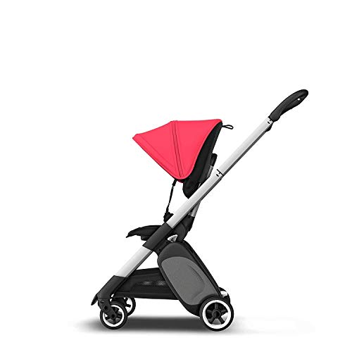 Bugaboo Ant Black/Neon Red, Lightweight Travel Pushchair with Compact Fold, Converts Into Pram