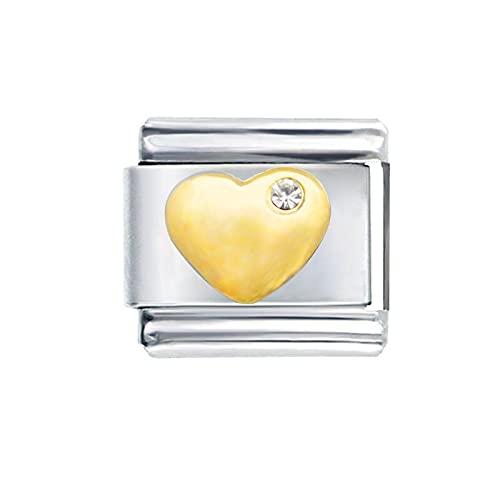 LILANG Pulsera de joyería Pandora 925 NaturalComposable clásico Chapado en Oro I Love You Crystal Puffy Heart Brand Charm Mujeres DIY Regalos