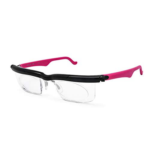 Adlens Schwerpunkt einstellbare Brille -4 bis +5 Dioptrien Kurzsichtigkeit Lupe lesen Gläser variabler Stärke (Rose)