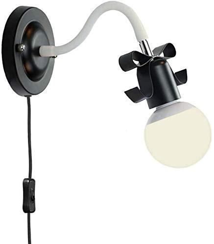 KANGSHENG Lámpara de Pared pequeña Negra con Brazo Flexible - Interruptor de Encendido/Apagado en el Cable de alimentación - Negro