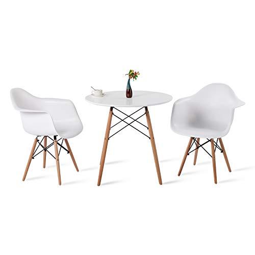 DORAFAIR Set aus Esstisch Weiß Rund und 2 Modern Esszimmerstühle, für Küche Esszimmer Konferenzzimmer