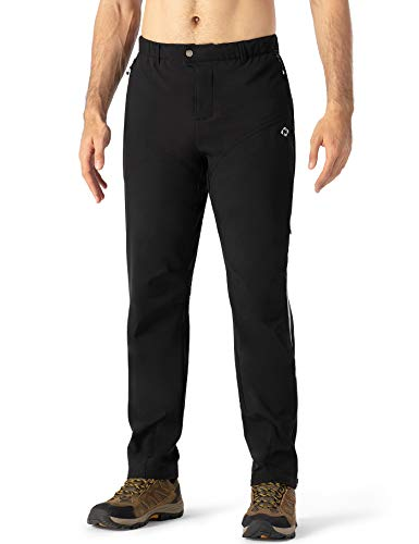 Naviskin Men's Fleece Outdoor Pants Windproof Bike Cycling Pants Athletic Sweatpants with Zipper Pockets Black Size L