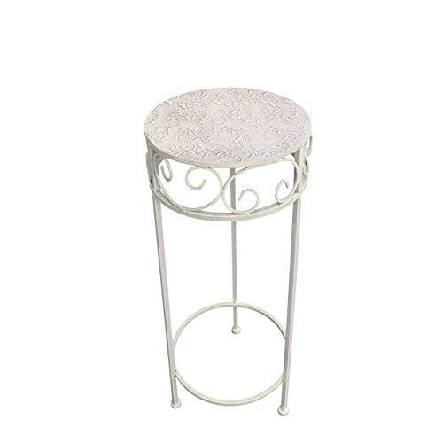 Metal Flores taburete/mesa auxiliar Shabby efecto antiguo gris redondo, metal, gris, pequeño