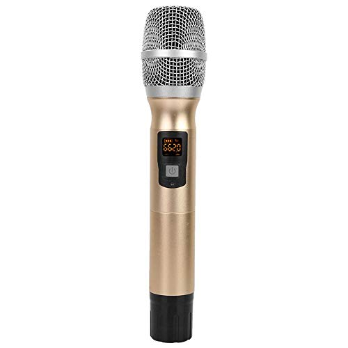 Cloudbox Micrófono inalámbrico UHF Micrófono de Mano inalámbrico UHF portátil con Receptor Batería AA para conferencias Discurso Dorado