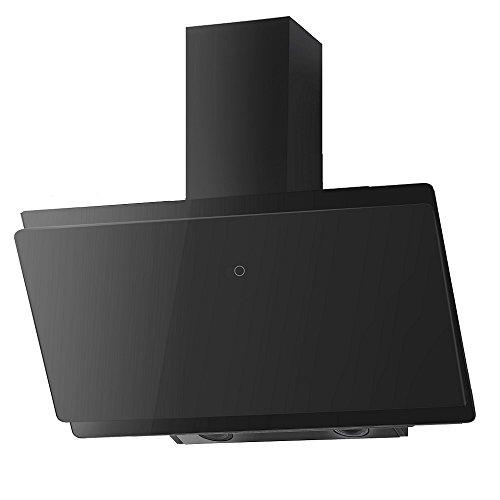 VLANO MIRA EEK A+ Kopf-freie Dunstabzugshaube Glas Design/Touch Control/ECO LED/Extra leiser Brushless Motor/Abluft/Umluft (MIRA 90 cm, schwarz)