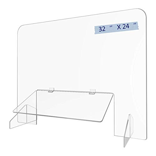 Sneeze Guard 32'x 24' Acrylic Shield Reception Desk Plastic Protection Barrier for Counter School Table Cashier Checkout Countertop (32''24'')