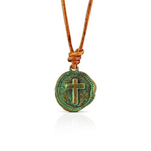 Herrenkette Kette für Herren Surferkette Kreuz Kreuzkette Herren Damen Halskette Surfer Kette - Handmade Qualität aus Leder mit Anhänger