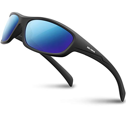 RIVBOS Polarized Sports Sunglasses Driving Glasses Shades for Men Women for Cycling Baseball 842 (832-1 Black Ice Blue Lens)