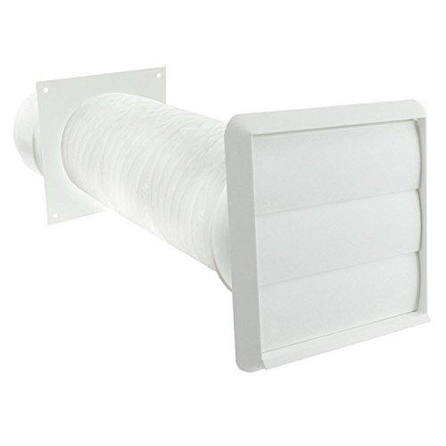 Invero® Dunstabzugshaube-Kit mit 1Meter Rund Flexibler PVC-Schlauch (12,7cm) und Gravity Klappe Auslass 125mm Durchmesser