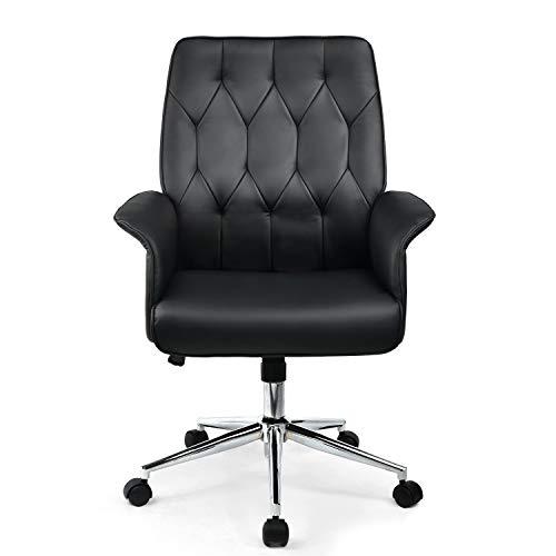 Umi. by Amazon - Bürostuhl PC stuhl Schreibtisch Schreibtischstuhl zum Drehen Chefsessel aus Stoff Schwarz