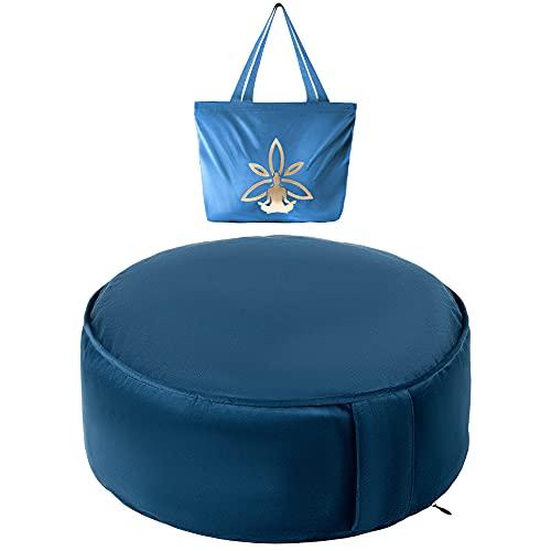 Cojin Yoga Zafu Meditación - Cojín de Suelo Azul para la Práctica de la Meditación - Accesorio Yoga para Mujer - Cojín Meditación Azul con Trigo y con Aroma a Yoga