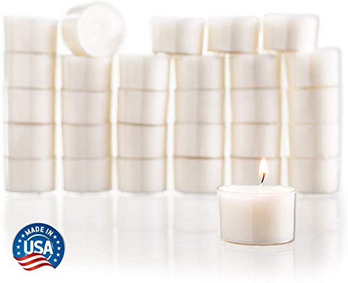 Stock Your Home White Unscented Tealight Candles (Set of 30) USA Made Classic Tea Lights with 8-Hour Burn Time Great for Home, Weddings, Parties, Special Occasions and Holiday Decorations (White)