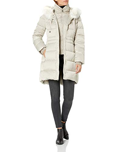 T Tahari Damen Fitted Puffer with Bib and Faux Fur Trimmed Hood Jacke, Eiche hell, Klein