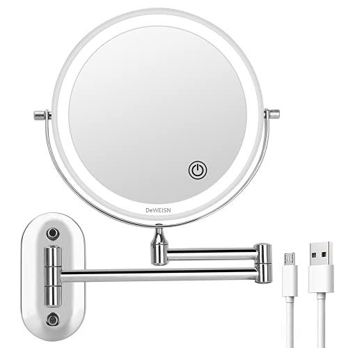 DeWEISN Specchio per Il Trucco con Ingrandimento 5X/1X, Specchio Cosmetico con 3 Luci Colorate Rotazione 360° Specchio Trucco da Parete con Braccio Estensione per Bagno Hotel, USB/Batteria Caricata