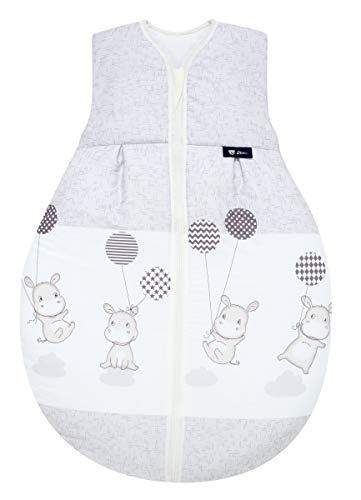 Set Alvi Schlafsack Molton & Windel Kinderhaus Blaubaer | Alvi Sommerschlafsack | Kinderschlafsack 100% Baumwolle | Leichter Baby-Schlafsack ärmellos, Größe:80, Design:Hippo silber
