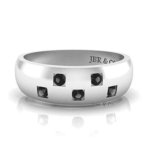 Jbr - Anillo de plata de ley de corte redondo para hombre, anillo de compromiso con incrustaciones de diamantes