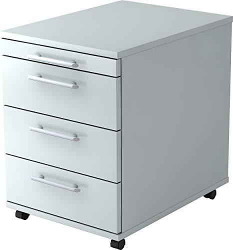 bümö® Rollcontainer in Grau mit 3 Schüben und Schreibwaren Schublade | Bürocontainer aus Holz | Tischcontainer mit Rollen | Büro Container für Ihren Schreibtisch