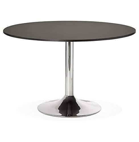 Alterego - Table de Bureau/à Diner Ronde 'SAOPOLO' Noire - Ø 120 cm