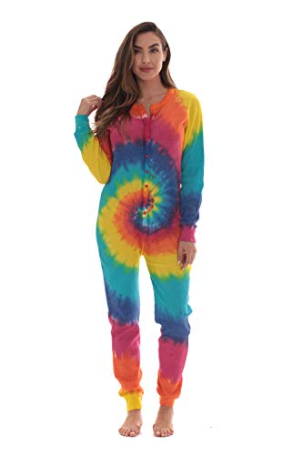 #followme Women's Tie Dye Henley Thermal Onesie 6769-10364-S