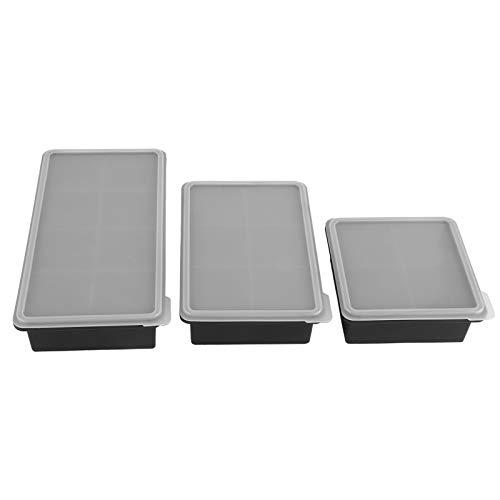 3Pcs Fabricant de glaçons en silicone Bacs à glaçons flexibles avec couvercle Moule à faire soi-même Moule Accessoires de cuisine Moule à glaçons Moule à glace pour les familles, les fêtes(Noir)