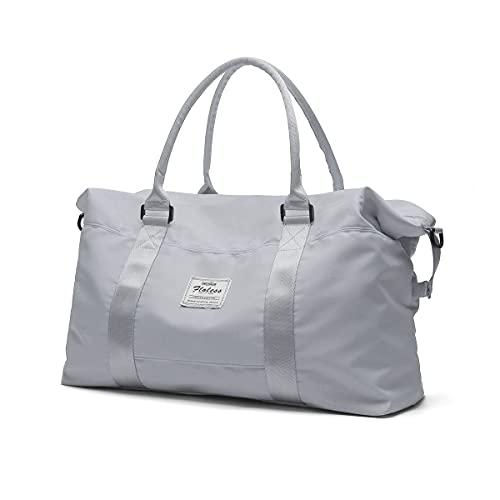 Bolsa de lona de viaje, bolso tote, bolsa de deporte para gimnasio, bolsa de hombro para fin de semana para mujer con bolsillo exterior impermeable, gris