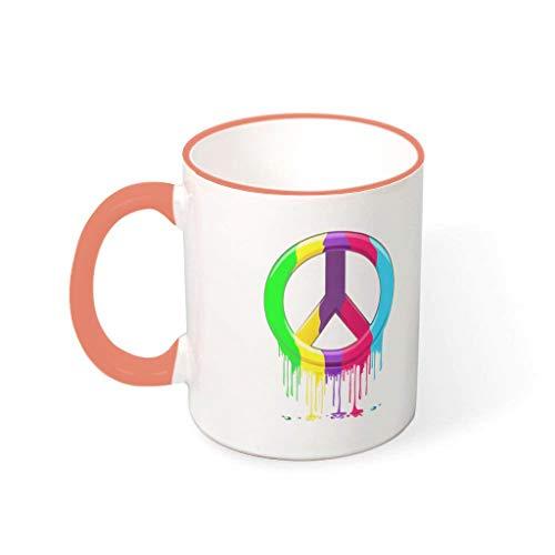 O3XEQ-8 11 OZ Friedenszeichen Wasser Cappuccino Becher Tasse mit Griff Keramik Funny Mug - Halloween, Anzug für Restaurant verwenden Persimmon 330ml